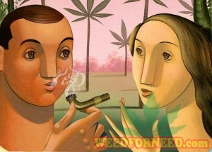 couple smoking marijuana pipe