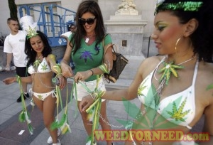 Dancers prepare at a pro-cannabis rally in California